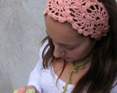 Crochet HeadBand - Hand Crochet Hairband - Bandana -Hair Wrap -Hair  Accessories - Salmon Color