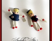 Sailor Boy & Sailor Girl Pins / Red, White and Blue / Nautical / Vintage 1940s / Scatter Pins