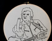 Johnny Cash Embroidered Wall Art, Hand Embroidery, Music, Pop Culture art.