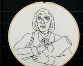 The Log Lady Twin Peaks Embroidered Art.