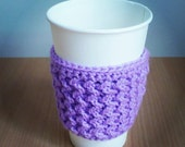 Crochet Coffee Cozy ZigZag in Lavender Purple