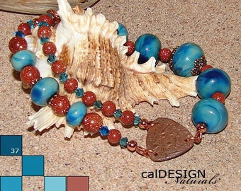 Funky Blue Patina - Turquoise & Copper Toned Multi-Strand Bracelet