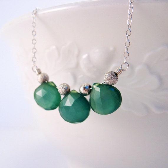 Green Gemstone Necklace - Green Chalcedony Trio - Sterling Silver Necklace - Teal Green Chalcedony - Green Apatite