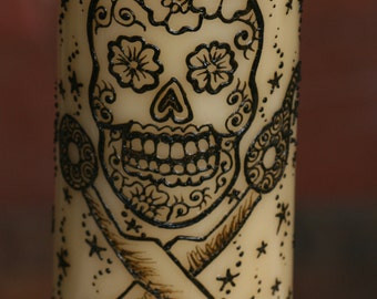 Henna Sugar Skull and Scissors Pillar Candle,Yellow, Light Vanilla Scent, great for hairdressers and crafters