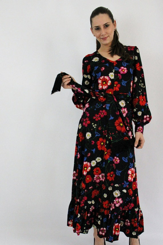Vintage 60s 70s Black Multi Color Floral Long Sleeve Dress with Matching Sash, Small S