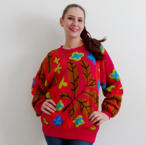 CLEARANCE 9.99 Vintage 80s Baggy Sweater, Red Sweater, Oversized Sweater, Size Medium-Large, M-L