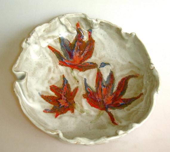 Leaf  Serving Bowl, Ceramic bowl, Japanese Maple, fall decor, Maple Leaf bowl, Thanksgiving decor,woodland decor,autumn bowl