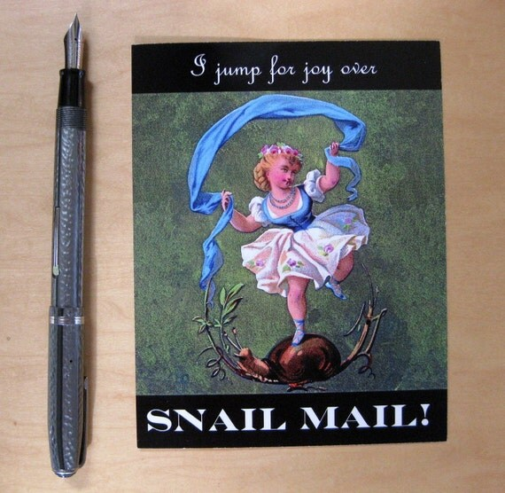 I jump for joy over snail mail postcard set, pack of 5