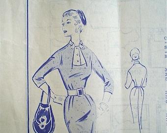 Modes Royale Dress Pattern Elegant Sheath with Neck Interest -- 1950s Vintage Sewing Pattern