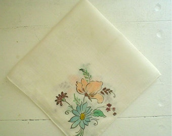 Linen Hankie with Hand Painted Flowers Peach and Blue Vintage Handkerchief