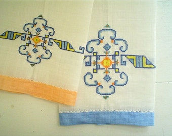 Vintage Linen Towels with Colorful Ethnic Cross Stitch, Set of Two Hand Embroidered Guest Fingertip Towels