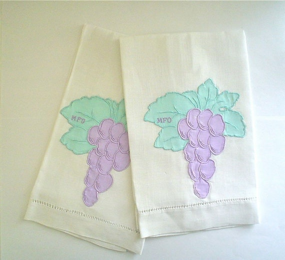 Linen Hand Towels with Madeira Embroidery Purple Grapes and Monogram