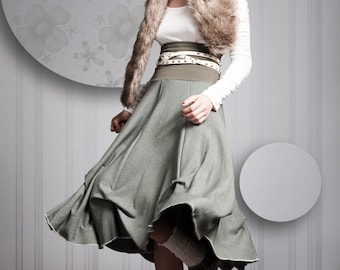 Lilya Skirt, grey gray or navy or olive green skirt, sizes small - medium - large - extra large