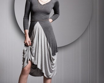 Grey Dress, Gray Dress, Cotton Lycra Dress, Long Sleeves Dress, Gray Robe, Any Sizes, Knee Length - Special Sale