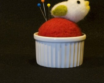 Felted Bird Pin Cushion