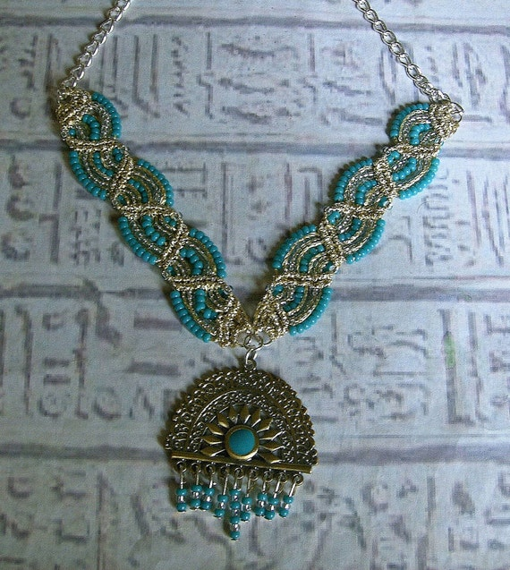 Macrame Necklace in teal, silver and vintage gold. Micro macrame jewelry.