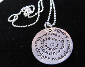 Personalized Mother's Necklace: Hand Stamped Personalized Sterling Silver Family Circle Necklace