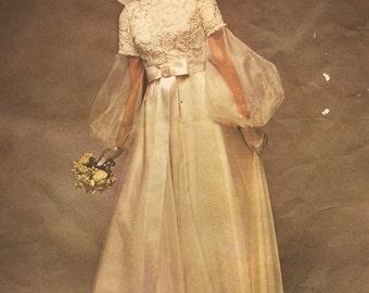 1970s Womens Boho One-Piece Wedding Dress Vogue Bridal Design Pattern 2254 Size 8 Bust 31 1/2 UnCut Vintage Bridal Gown Pattern