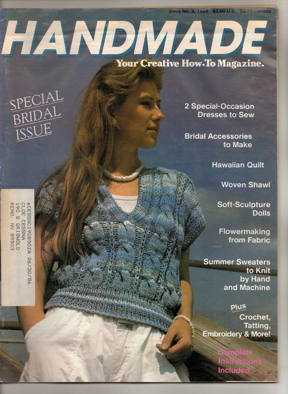 Vintage 80s Handmade Your Creative How To Magazine Issue 3 Special Bridal Issue 1986 OOP