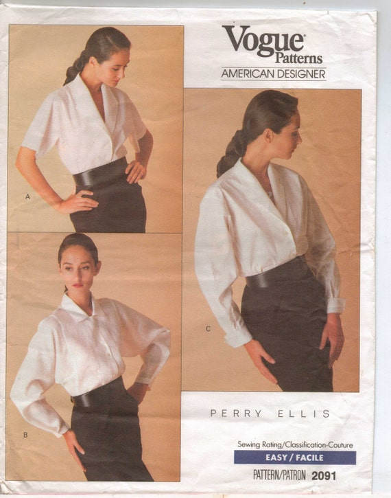 80s Perry Ellis Vogue American Designer Sewing Pattern 2091 Womens Classic Blouses Size 8 10 Bust 31 1/2 to 32 1/2 Suit Blouse Pattern