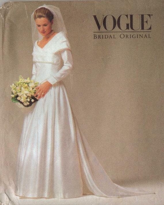 Vintage Wedding Dress 90s: 90s Vogue Bridal Original Pattern 2768 Womens Wedding Dress