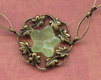 "New ""Jade' Flowers with Brass Wreaths"