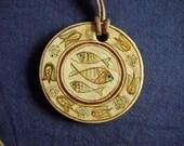 Religious Necklace - Religious Ceramic Pendant- Christian Fish Jesus Symbol-ichthus- Jesus Necklace, Jesus Necklaces, God Necklace