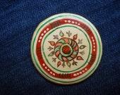 Floral Fridge Magnets, White Red green flowers Magnets, Folk Art, clay magnet, Cucuteni , Folk art painting, primitive art magnet