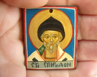 miniature icon of Saint Spiridon-Folk Art by Denise Clemenco- personalized baby baptism gifts - baptism gifts for godparents