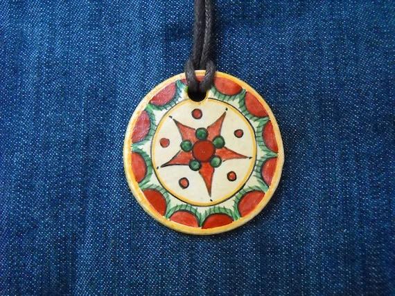 Romanian traditional motif, pendant, original folk art painting, folk art jewelry, God's eye, hippie jewelry, Hand Painted Jewellery
