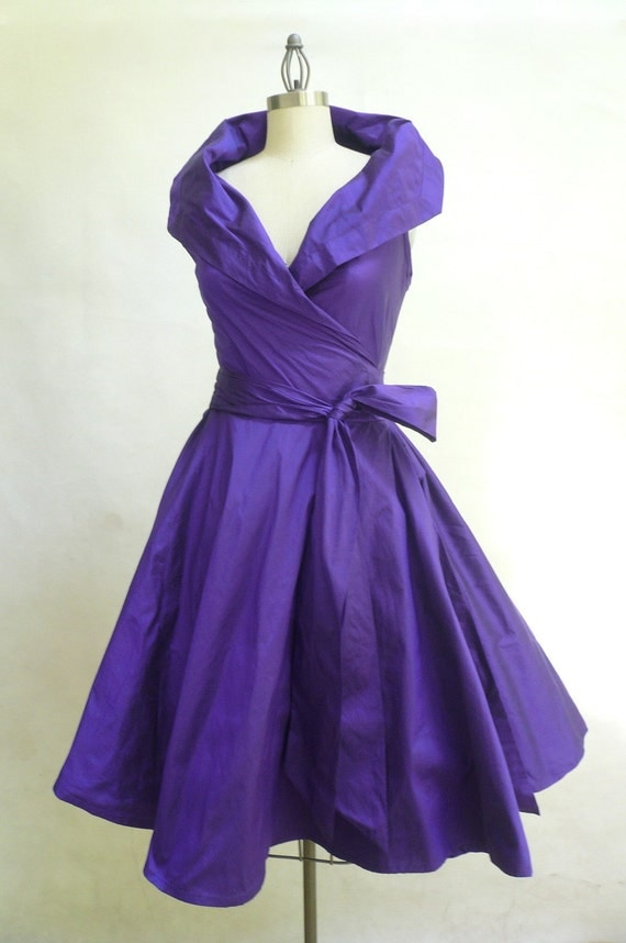 Custom Made  MARIA SEVERYNA Double Wrap Full Skirt Dress 1950s style cocktail dress Mother of the Bride Dress - available in many colors
