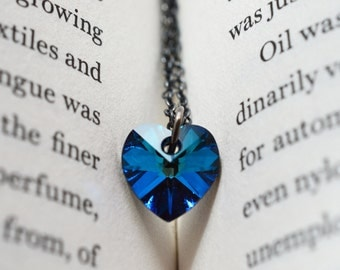 Bermuda Blue Necklace, Swarovski Heart Pendant, Sterling Silver Necklace, Twilight, Heart Jewelry, Mystery, Bridesmaid Gift, Love Necklace