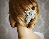 JOSEPHINE, Art Deco Wedding Hair Comb, Bridal Hair Comb, Crystal Pearl and Rhinestone Bridal Wedding Hair Accessories, Old Hollywood