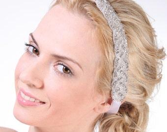 ELOISE - Wedding Crystal Headband, Bridal Rhinestone Headband, Grecian Bridal Headband, Silk Ribbon Wedding Headband, Bridal Hair Accessory