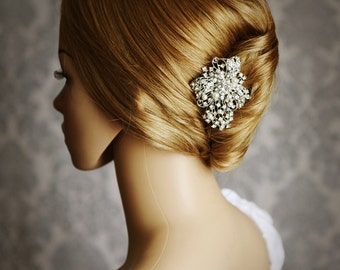 STEPHANIE, Swarovski Pearl and Rhinestone Bridal Hair Comb, Crystal Bow Wedding Hair Comb, Vintage Style Bridal Wedding Hair Accessories