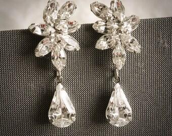 DARALIS, Vintage Style Wedding Earrings, Swarovski Crystal Bridal Dangle Drop Earrings, Marquise Rhinestone Stud Earrings, Bridal Jewelry