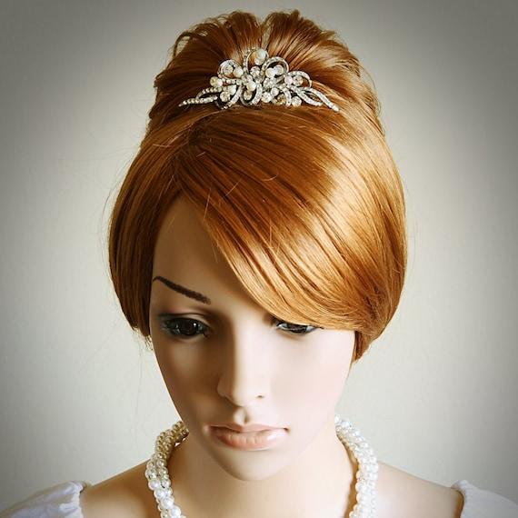 AUDREY, Vintage Style Wedding Bridal Tiara, Victorian Wedding Hair Accessories, Swarovski Rhinestone and Pearl Bridal Wedding Tiara / Crown