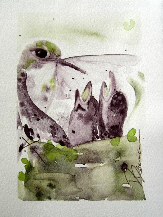 Hummingbirds and Nest Nursery Art