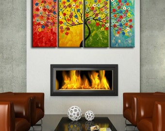 Large Abstract Painting,  Impasto landscape, Textured Tree Painting, Blossom Tree, Palette Knife Textured colorful seasons tree painting