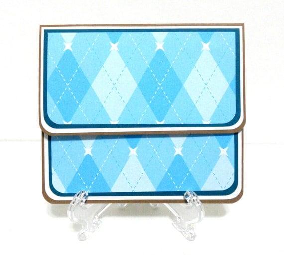CLEARANCE-Gift Card Holder, Gift Card Envelope, Gift Card Box, Money Holder- Blue Argyle