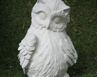 Owl Figure, Concrete Statue for Home and Garden