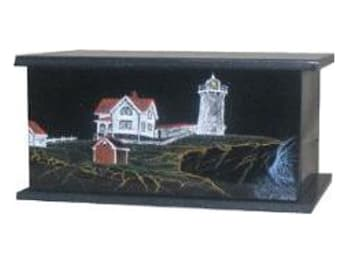 The Famous Nubble Lighthouse in York, Maine is hand etched and hand painted on Absolute Black Granite Urn