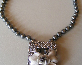 Vintage Necklace Cut Steel Belt  Buckle and Silver Rosebud on Black Faux Pearls OOAK Designer Made Upcycled