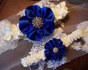 Royal Blue Wedding Garter Set with Vintage style Rhinestone Center, Bridal Garter Set