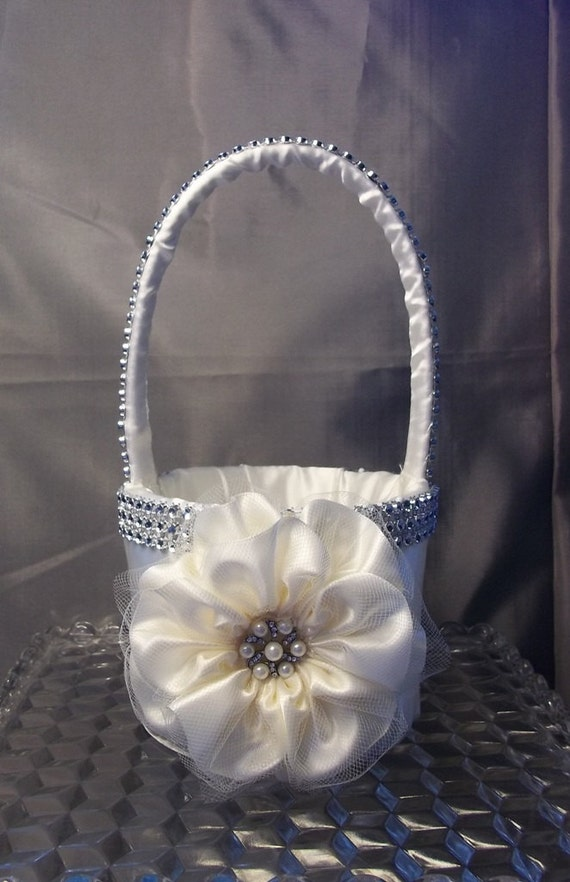 Ivory Flower Girl Basket with Rhinestone Mesh by ...