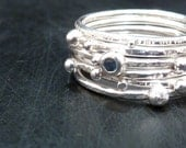 Sterling Silver Stacking Rings Set - with gemstone
