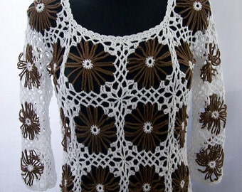 Brown sunflower Crocheted sweater flower  white summer