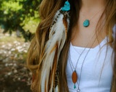 Goodbye Blue Sky - Turquoise Feathered Hair Spiral or Dread Wrap