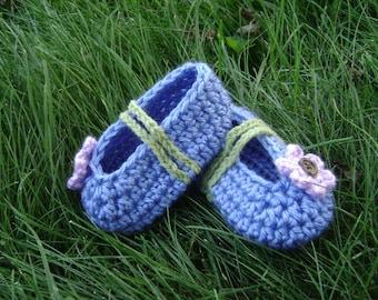 berry blue ballet slipper w/ violet flower