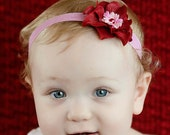 Valentine's Day Hydrangea Pink and Red Layered Baby Flower Headband. Pearl Flower headband Baby girl headbands. Photography prop photo prop